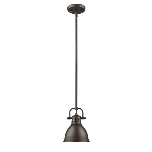 Golden Lighting Duncan Rubbed Bronze One-Light Mini Pendant with Rubbed Bronze Shade