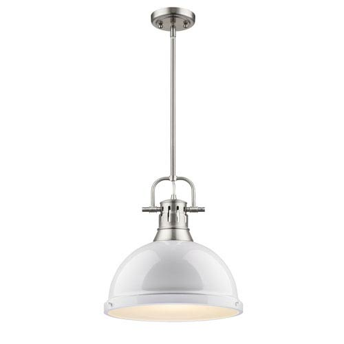 Duncan Pewter One-Light Pendant with White Shade