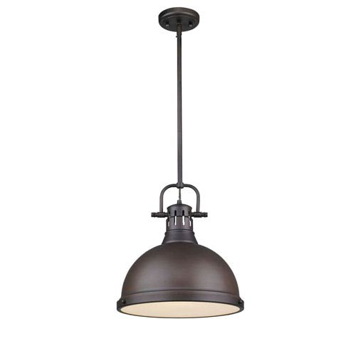 Duncan Rubbed Bronze One-Light 15-Inch High Pendant with Rubbed Bronze Shade
