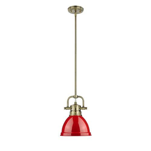 Golden Lighting Duncan Aged Brass One-Light Mini Pendant with Red Shade
