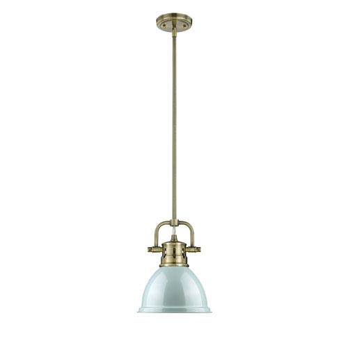 Duncan Aged Brass One-Light Mini Pendant with Seafoam Shade