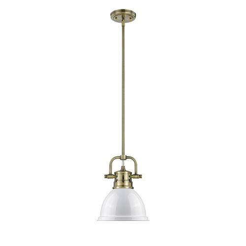 Golden Lighting Duncan Aged Brass One-Light Mini Pendant with White Shade