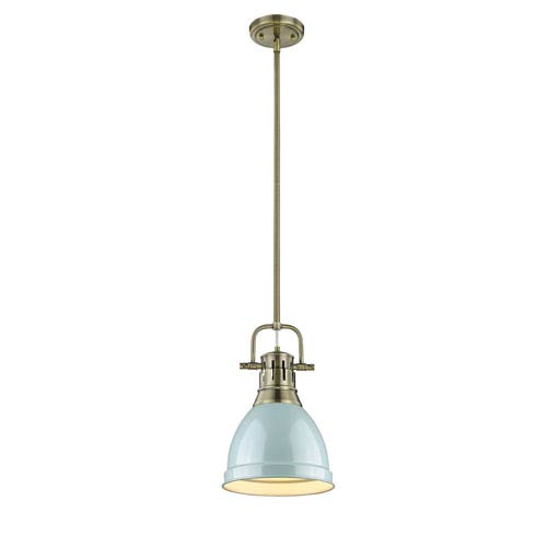 Golden Lighting Duncan Aged Brass One-Light Mini Pendant with Seafoam Shade