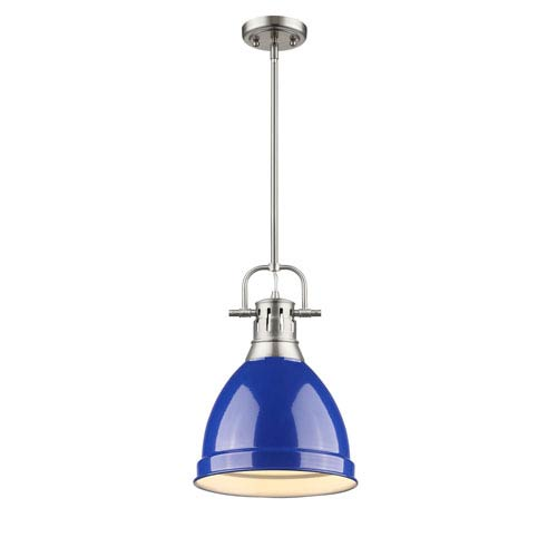 Duncan Pewter One-Light Mini Pendant with Blue Shade