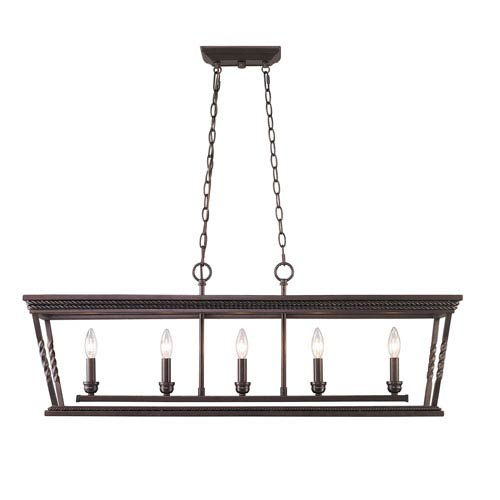 Golden Lighting Davenport Etruscan Bronze Five-Light Linear Pendant