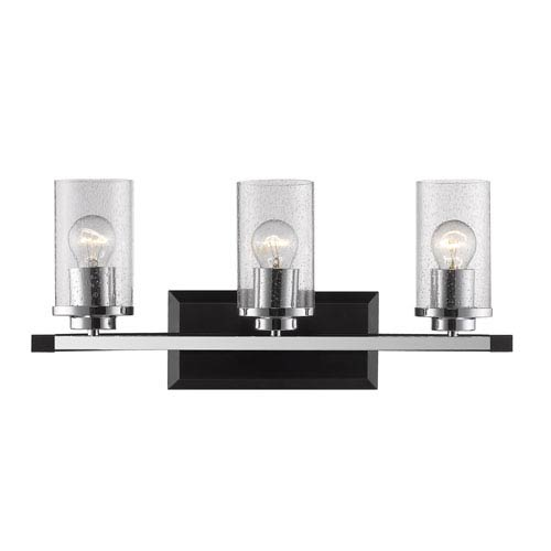 Mercer Black Three-Light Bath Vanity with Seeded Glass