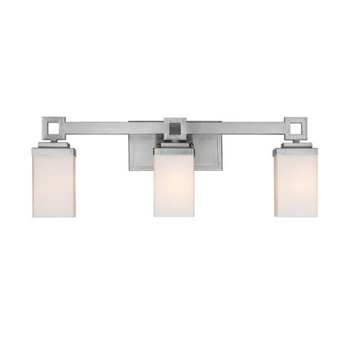Nelio Pewter Three-Light Bath Fixture with Cased Opal Glass