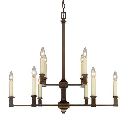 Golden Lighting Bradley Cordoban Bronze Ten-Light Chandelier