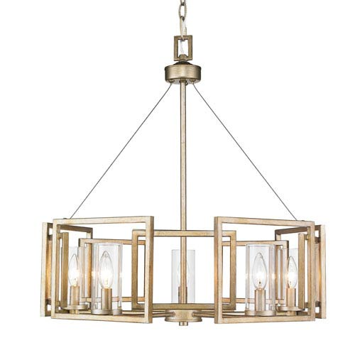 Marco White Gold Five-Light Chandelier with Clear Glass Shade