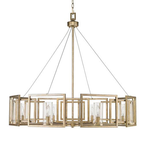 Gold chandeliers free shipping bellacor marco white gold eight light chandelier with clear glass shade aloadofball Gallery
