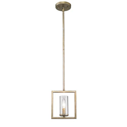 Marco White Gold One-Light Mini Pendant with Clear Glass Shade