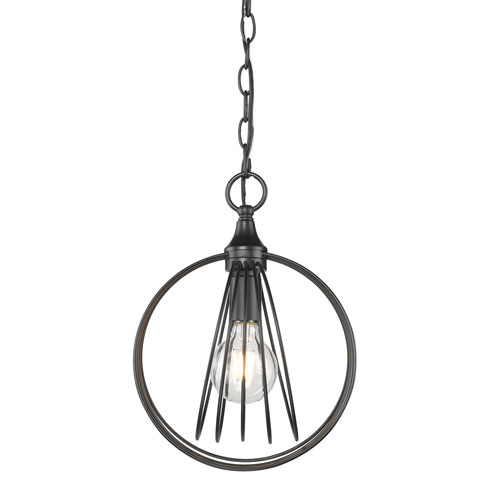 Golden Lighting Quinn Black 10-Inch One-Light Mini Pendant