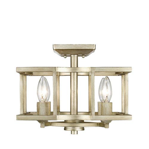 Golden Lighting Bellare White Gold Four-Light Semi Flush Mount