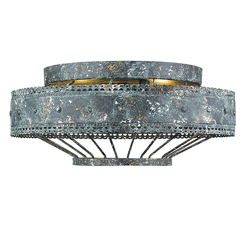 Ferris Blue Verde Patina Two-Light Flush Mount