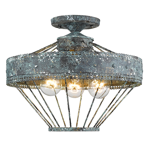 Golden Lighting Ferris Blue Verde Patina Three-Light Semi Flush Mount