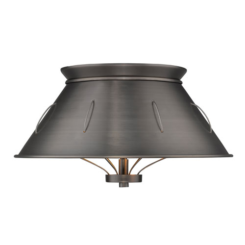 Golden Lighting Whitaker Aged Steel 14-Inch Two-Light Flush Mount with Aged Steel
