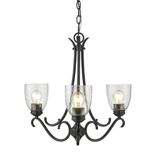Parrish Black Three-Light Chandelier with Seeded Glass