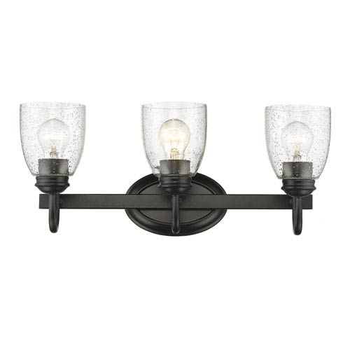 Parrish Black Three-Light Bath Vanity with Seeded Glass