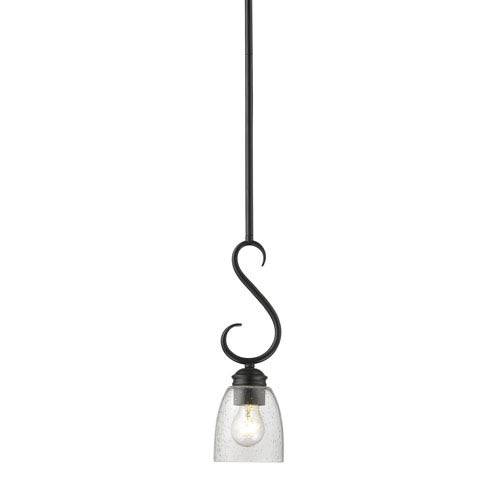 Parrish Black One-Light Mini Pendant with Seeded Glass