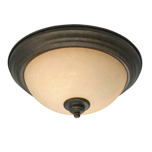 Heartwood Burnt Sienna Two-Light Flush Mount with Tea Stone Glass