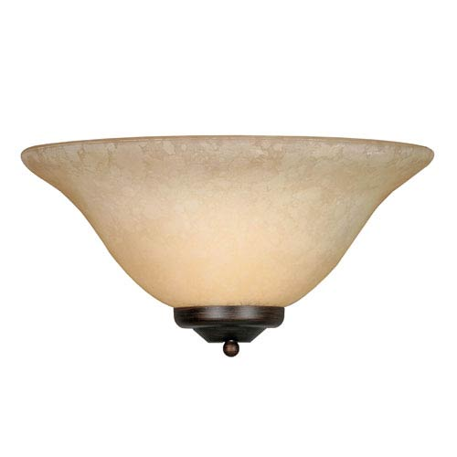 Multi-Family Rubbed Bronze One-Light Wall Sconce with Tea Stone Glass