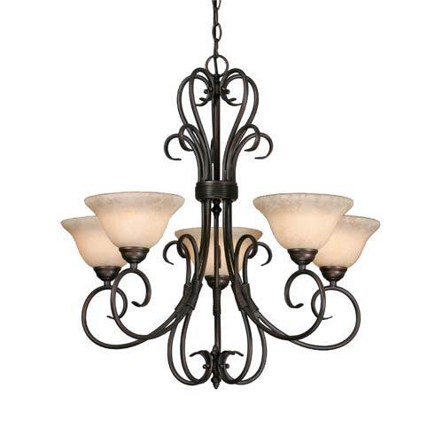 Golden Lighting Homestead Rubbed Bronze Five-Light Chandelier
