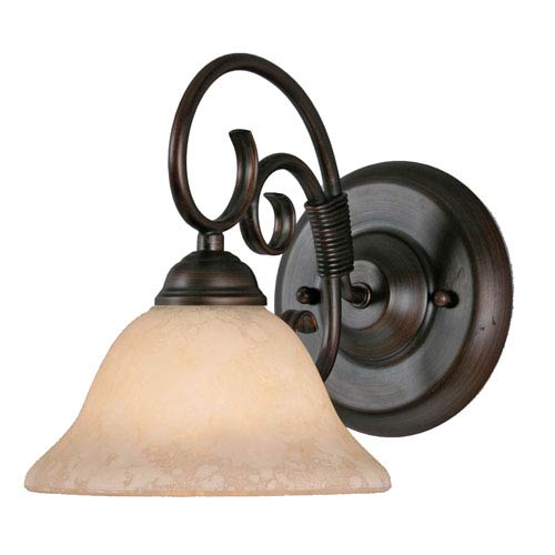Golden Lighting Homestead Rubbed Bronze One-Light Wall Sconce with Tea Stone Glass