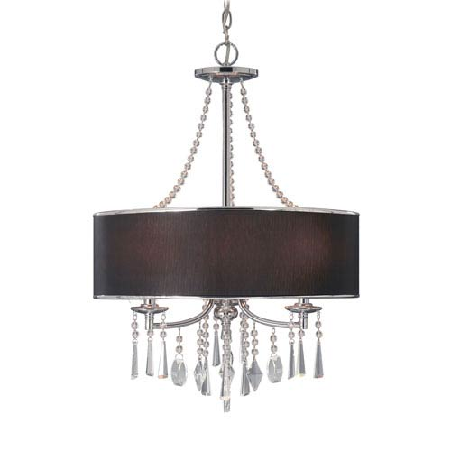 Golden Lighting Echelon Chrome Three-Light Pendant with Tuxedo Shade