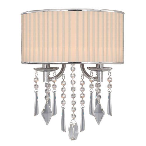 Echelon Chrome Two-Light Wall Sconce with Bridal Veil Shade
