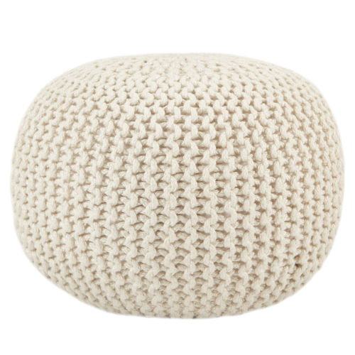 Spectrum Rays Asilah Solid White Indoor/Outdoor Cylinder Pouf