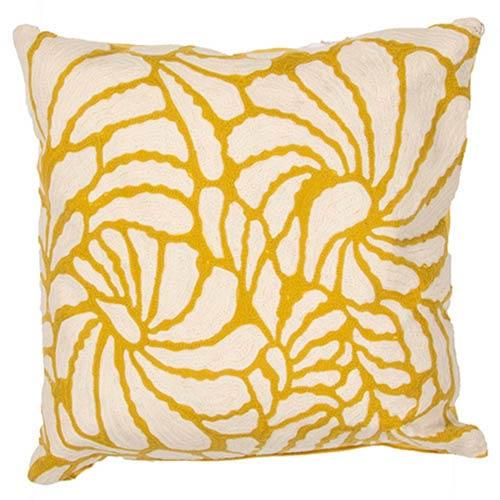 Jaipur Luli Sanchezs Cream and Yellow 18-Inch Decorative Pillow