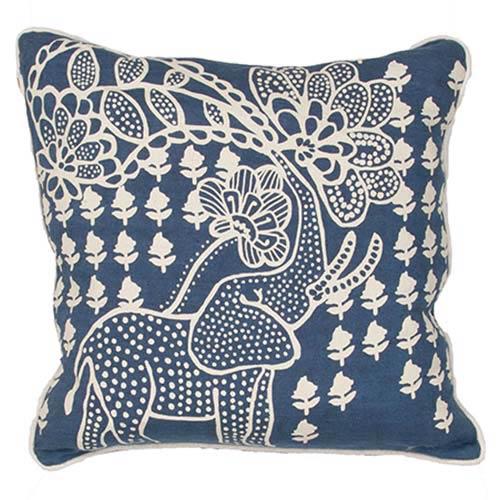 Jaipur Luli Sanchezs LSC08 Blue 18-Inch Decorative Pillow