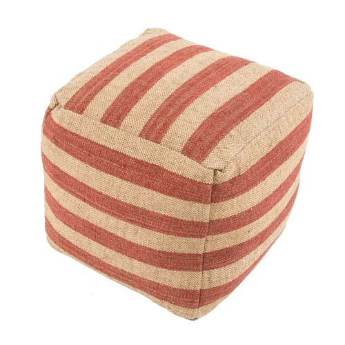 Jaipur Mason Red, Ivory and White 16-Inch Cube Pouf