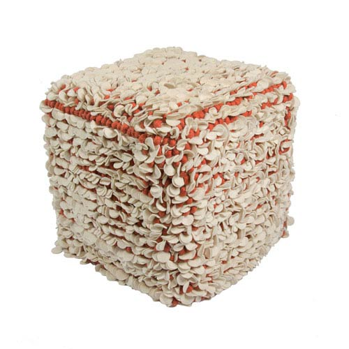 Jaipur Scandinavia White and Red 16-Inch Cube Pouf