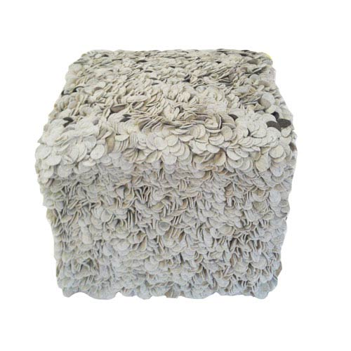 Scandinavia Gray and Ivory 16-Inch Cube Pouf