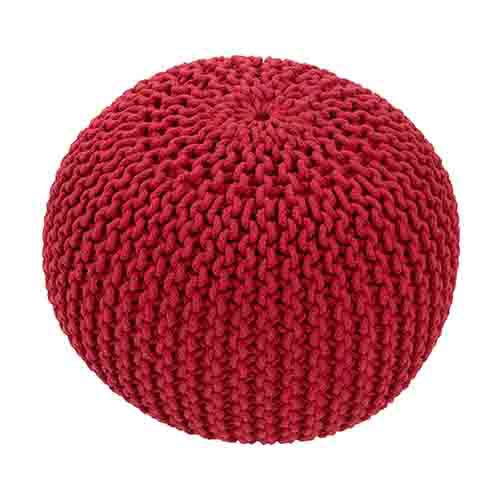 Spectrum Red Cylindrical Pouf