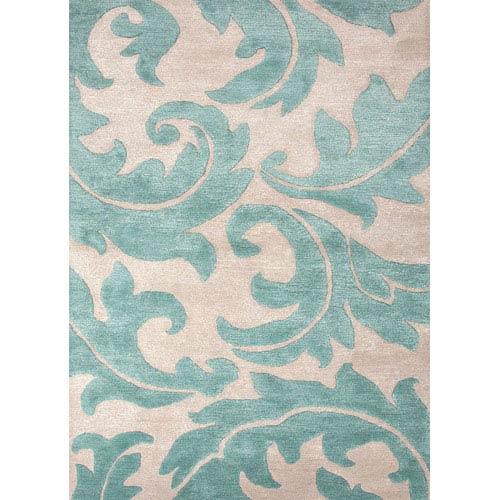 Jaipur Blue Ivory and Blue Rectangular: 5 Ft. x 8 Ft. Rug