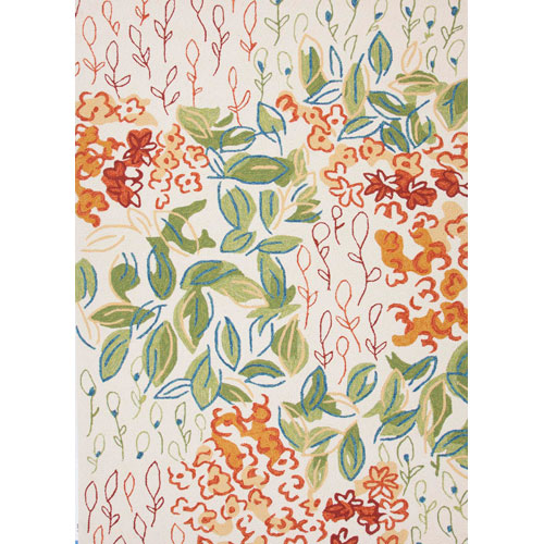 Jaipur Colours Ivory and Orange Rectangular: 5 Ft. x 7 Ft. 6 In. Rug