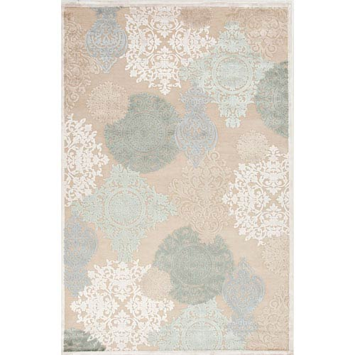 Jaipur Fables Ivory and Blue Rectangular: 5 Ft. x 7 Ft. 6 In. Rug