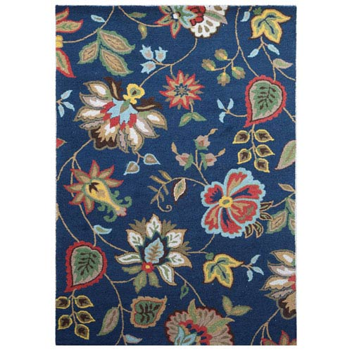 Jaipur Hacienda Light Blue and Multi-Colored Rectangular: 5 Ft. x 8 Ft. Rug