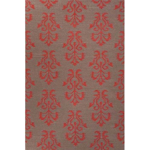 Jaipur Urban Bungalow Gray and Red Rectangular: 5 Ft. x 8 Ft. Rug