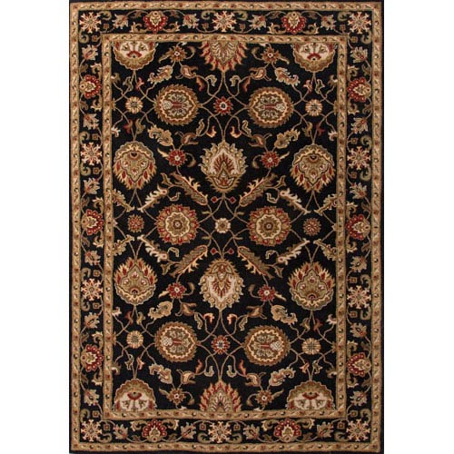 Jaipur Mythos Black and Red Rectangular: 5 Ft. x 8 Ft. Rug
