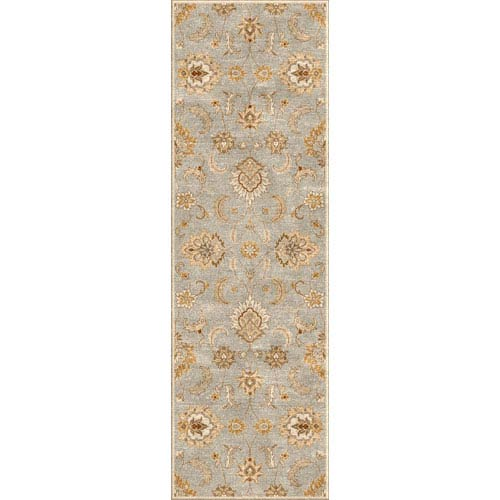 Jaipur Mythos Blue and Ivory Runner: 4 Ft. x 16 Ft. Rug
