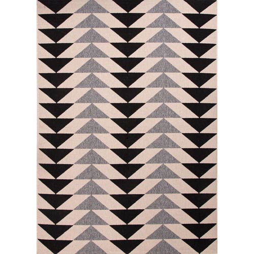 Jaipur Patio Ivory and Light Black Rectangular: 5 Ft. 3 In. x 7 Ft. 6 In. Rug