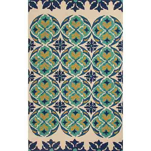 Jaipur Barcelona BA45 Ivory and Blue Rectangular: 2 Ft. x 3 Ft. Rug
