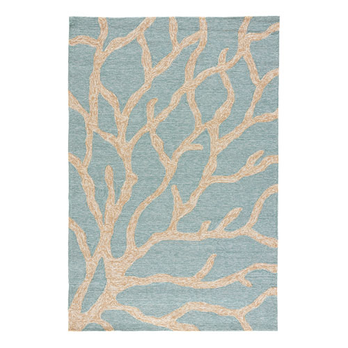 Coastal Lagoon Coral Teal Rectangular: 2 Ft. x 3 Ft. Rug