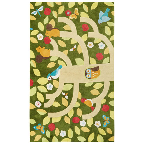 Iconic by Petit Collage Treetop Chive Rectangular: 2 Ft. x 3 Ft. Rug