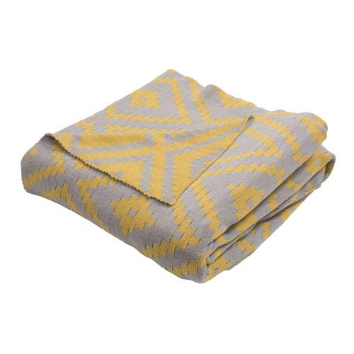 Trinity Neutral Gray and Oil Yellow Throw