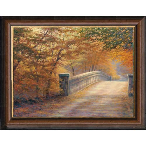 Autumn Bridge by Charles White: 21 x 17.5 Framed Open Edition Print on Canvas