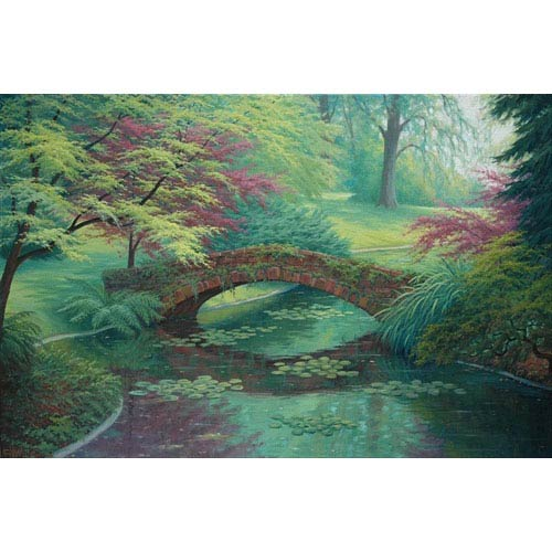 Hadley House The Red Stone Bridge by Charles White: 12 x 8 Giclee Canvas